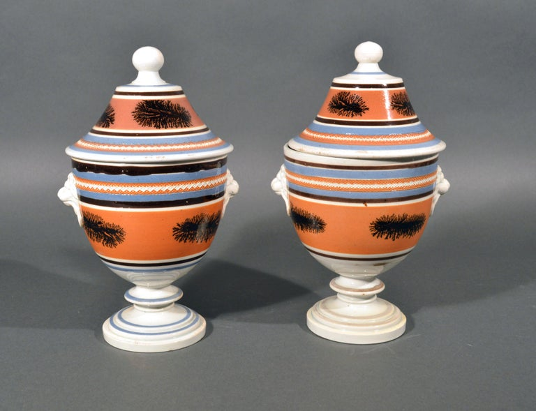 19th Century Mocha Pottery Covered Urns with Lion-Head Handles, circa 1825 For Sale