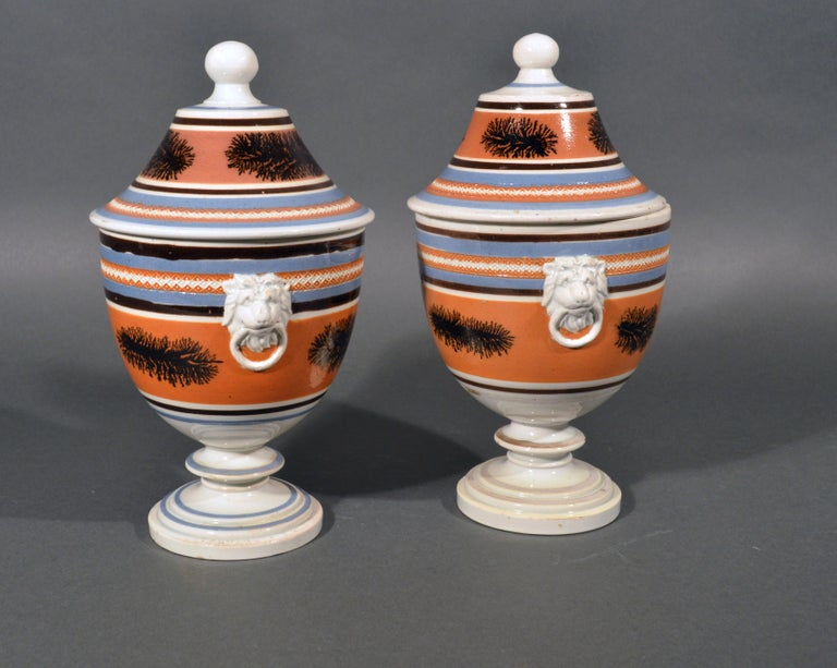 Mocha Pottery Covered Urns with Lion-Head Handles, circa 1825 For Sale 1