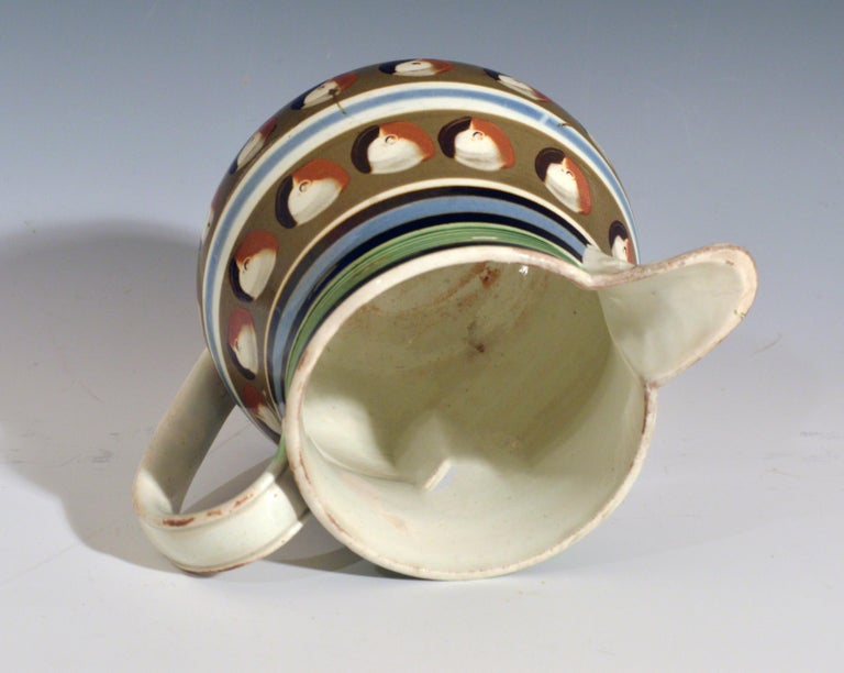 English Mocha Pottery Double Cat's Eye-Decorated Jug, circa 1820 For Sale