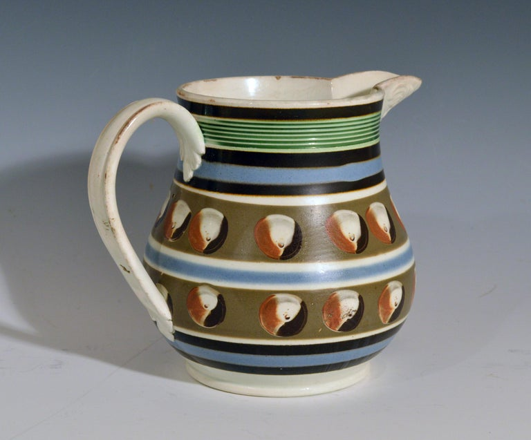 Mocha Pottery Double Cat's Eye-Decorated Jug, circa 1820 In Good Condition For Sale In Downingtown, PA