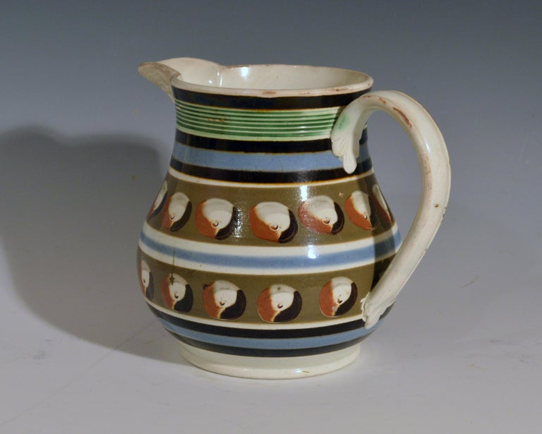 19th Century Mocha Pottery Double Cat's Eye-Decorated Jug, circa 1820 For Sale