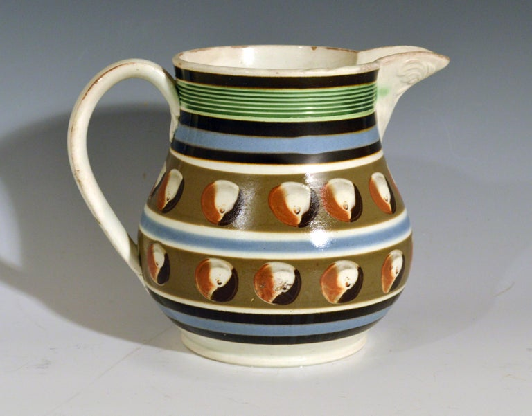 Pearlware Mocha Pottery Double Cat's Eye-Decorated Jug, circa 1820 For Sale
