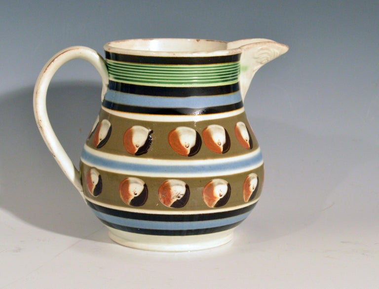 Mocha Pottery Double Cat's Eye-Decorated Jug, circa 1820 For Sale 1