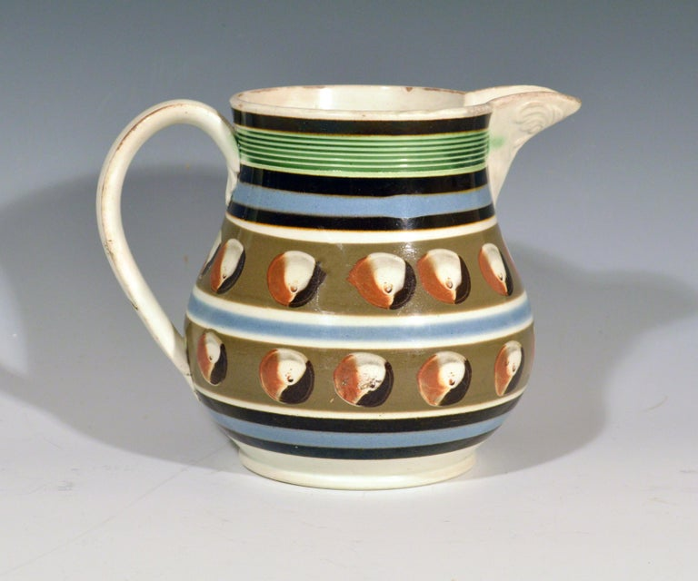 Mocha Pottery Double Cat's Eye-Decorated Jug, circa 1820 For Sale 2