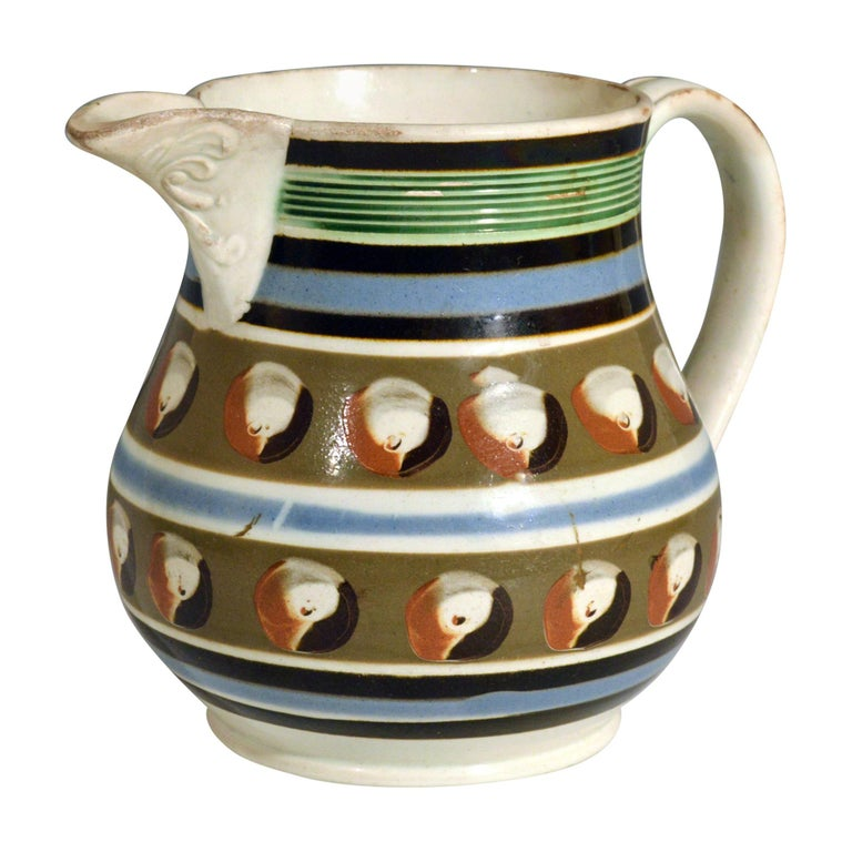 Mocha Pottery Double Cat's Eye-Decorated Jug, circa 1820 For Sale