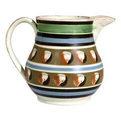 Mocha Pottery Double Cat's Eye-decorated Jug, circa 1820