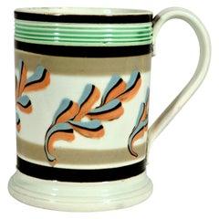 Mocha Pottery Mug with Oak Leaf Decoration, Circa 1800