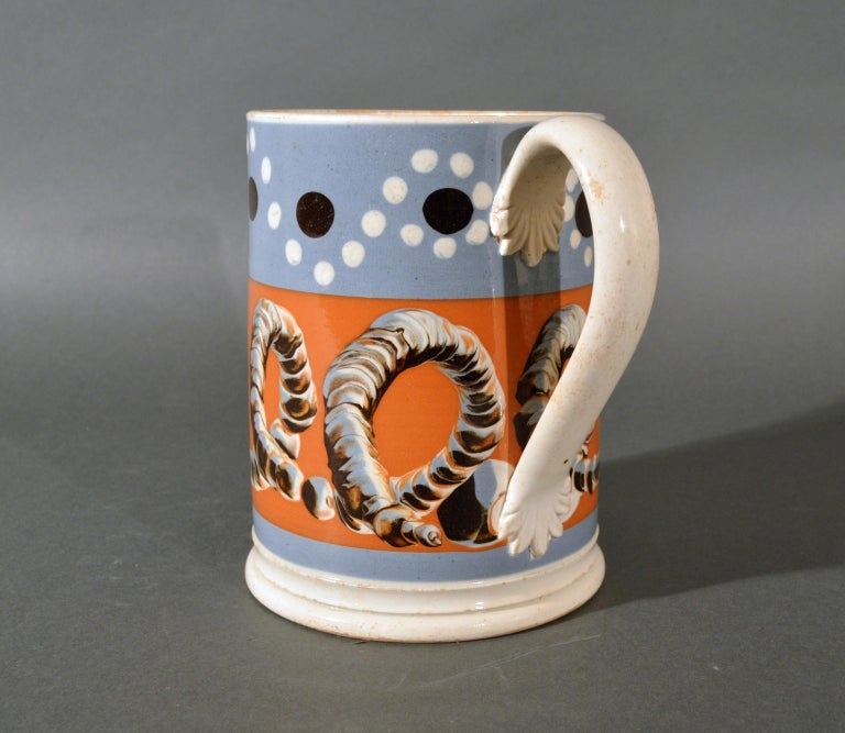 Folk Art Mocha Tankard with Earthworm and Dot Decoration, Early 19th Century For Sale