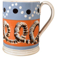 Mocha Tankard with Earthworm and Dot Decoration, Early 19th Century