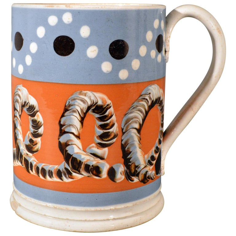 Mocha Tankard with Earthworm and Dot Decoration, Early 19th Century For Sale