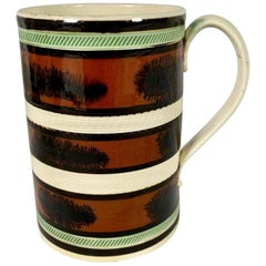 "Mochaware Creamware Mug Made in England circa 1800 Decorated with ""Seaweed"""