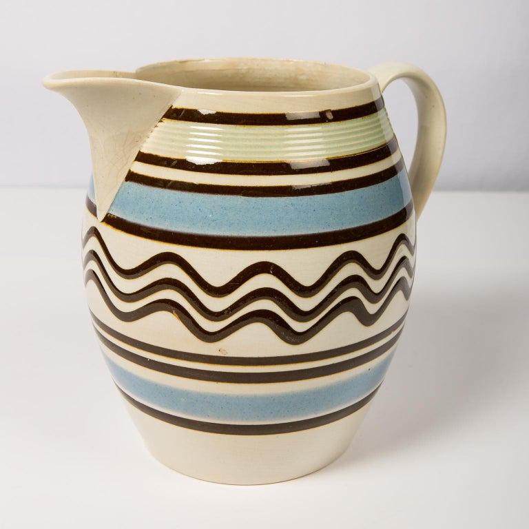 Creamware Mochaware Large Barrel Shaped Pitcher For Sale