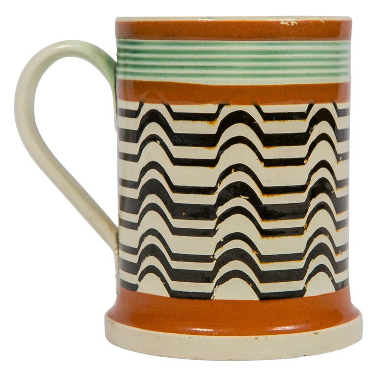 Mochaware Mug Made by J.& R Clews at the Cobridge Factory, England, circa 1820 For Sale