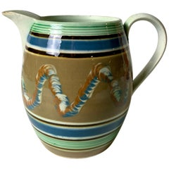 Mochaware Pitcher Decorated with Soft Blue Green & Brown Made England, c- 1820