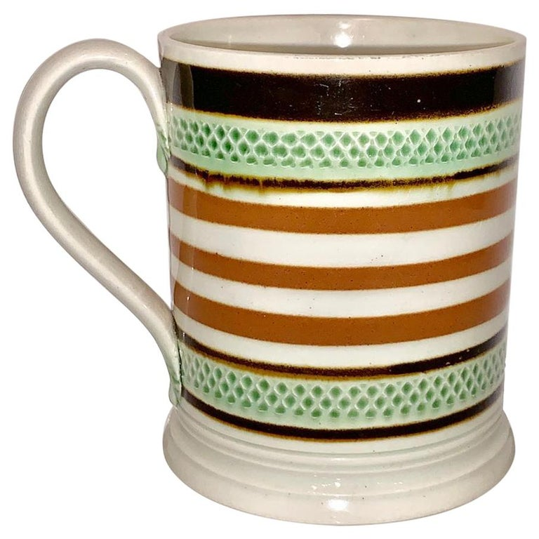 Mochaware Mug Slip Banded and Rouletted, England, circa 1810 For Sale