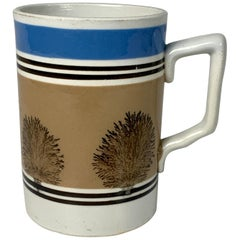 "Mochaware Mug with Mocha ""Trees"" & Inscribed ""E-R"" under a Crown and ""19__"" ."