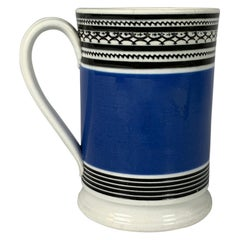 Mochaware Mug with Royal Blue Slip and Black Geometric Designs Made England