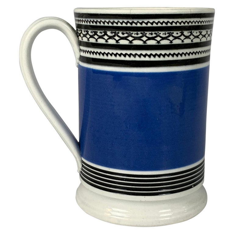 Mochaware Mug with Royal Blue Slip and Black Geometric Designs Made England For Sale
