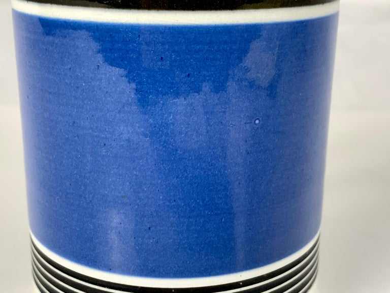 Country Mochaware Mug with Royal Blue Slip and Black Geometric Designs Made England For Sale