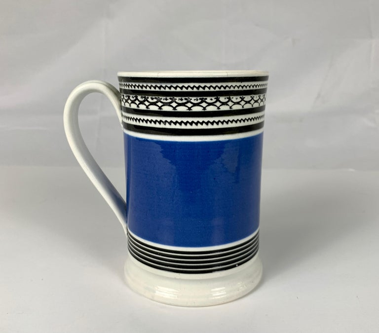 19th Century Mochaware Mug with Royal Blue Slip and Black Geometric Designs Made England For Sale