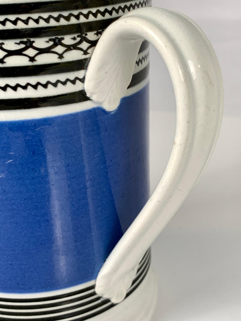 Pearlware Mochaware Mug with Royal Blue Slip and Black Geometric Designs Made England For Sale