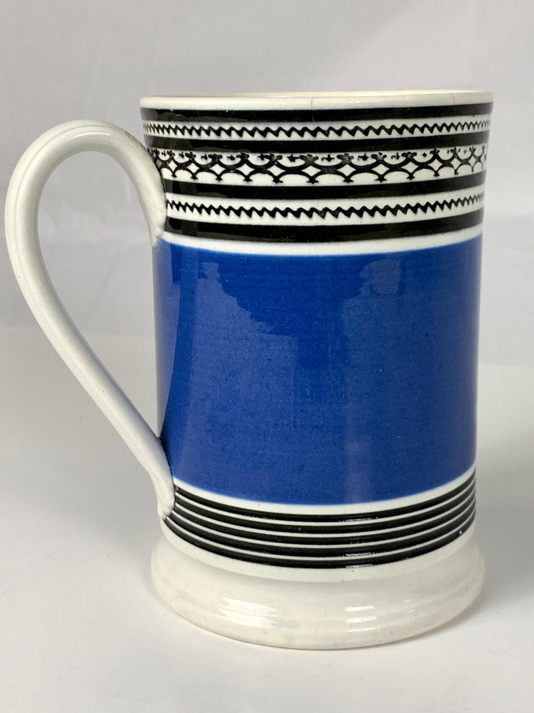 Mochaware Mug with Royal Blue Slip and Black Geometric Designs Made England For Sale 1