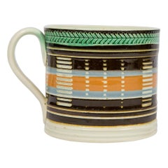 Mochaware Mug with Slip Decoration Made in England, circa 1820