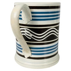 Mochaware Mug with White Trailed Slip in Wavy Lines & Blue & Black Stripes