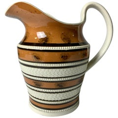 """Mochaware Pitcher Decorated with """"""""Trees"""" and Seaweed"""" England, circa 1810"""