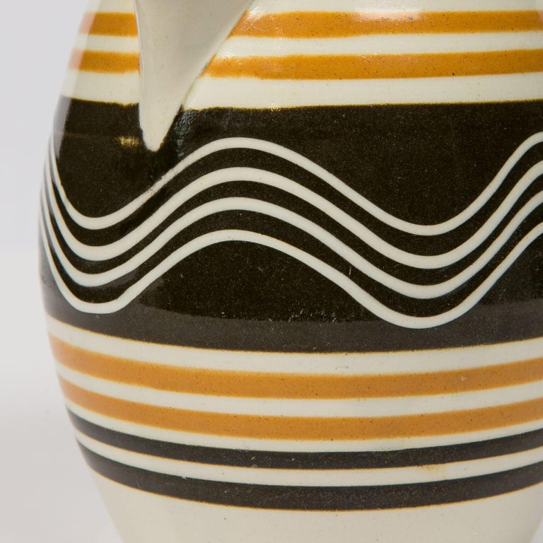 Folk Art Mochaware Pitcher Made in England, circa 1810 For Sale