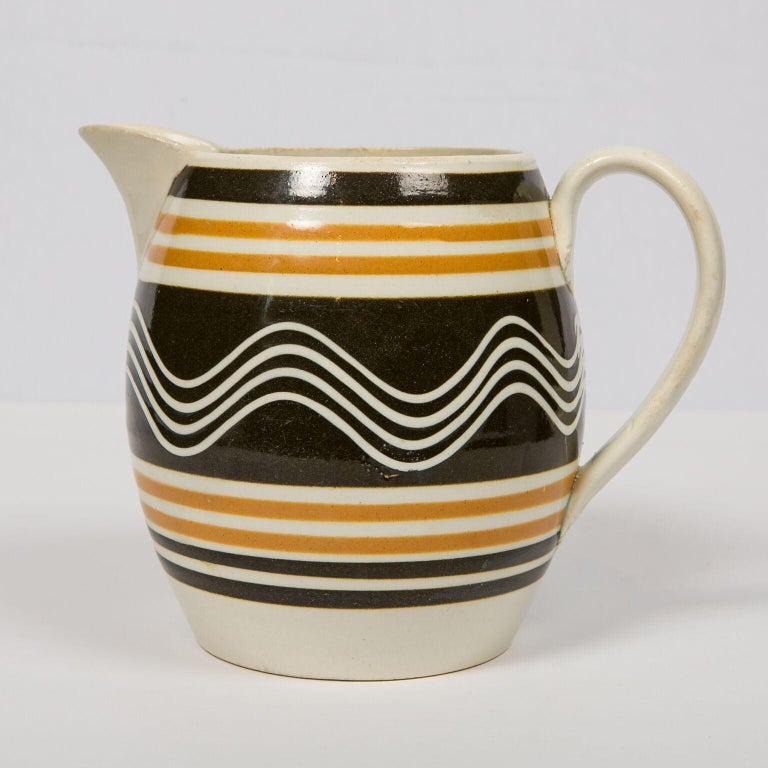 Glazed Mochaware Pitcher Made in England, circa 1810 For Sale