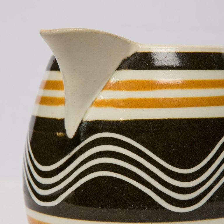 Earthenware Mochaware Pitcher Made in England, circa 1810 For Sale