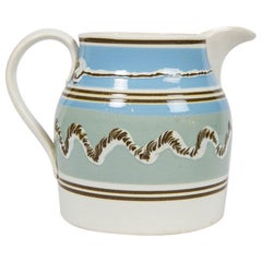 Mochaware Pitcher Made of Pearl-Glazed Creamware in England, circa 1820