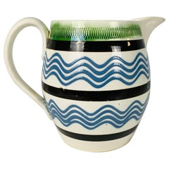 Mochaware Pitcher with Sky-Blue Trailed Slip Lines