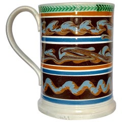 Mochaware Quart Mug Decorated with Three Lines of Cable England, circa 1840