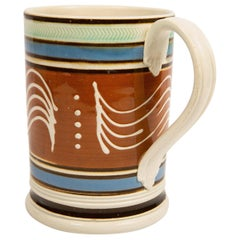 Mochaware Tankard with 5 Quill and Dot Trailed Slip Decoration