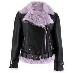 MO&Co. Black Leather Jacket with Lilac Shearling Lining SIZE S