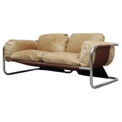 MOD 1970s Leolux Leather and Chrome Loveseat