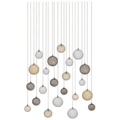 Mod 22, Blown Mixed Sized Glass Dining Room Chandelier by Shakuff