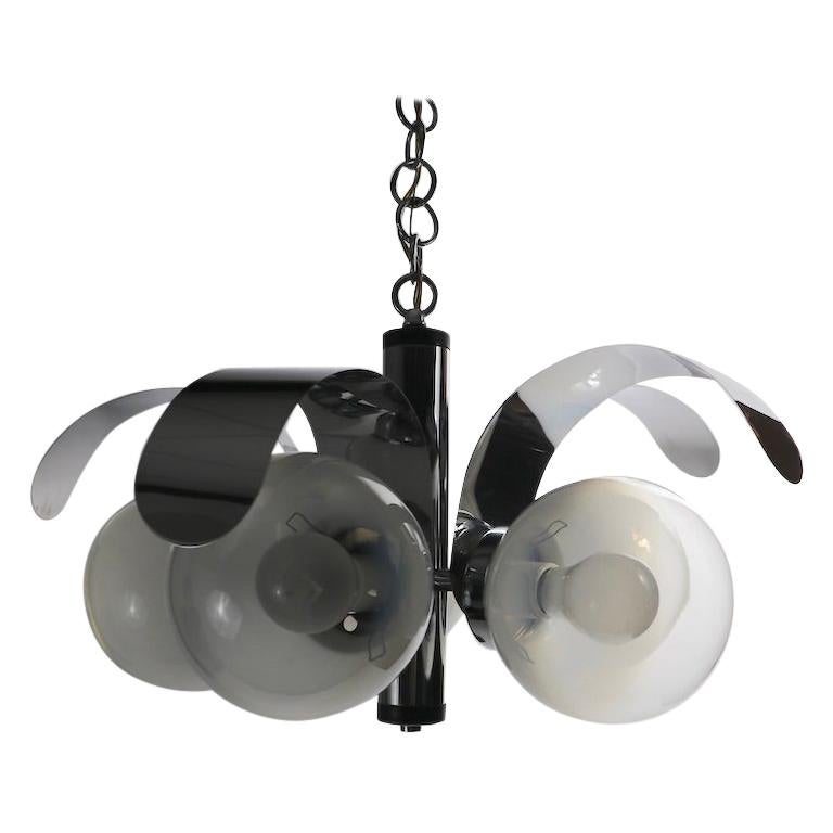 Mod 5-Light Chrome and Glass Ball Chandelier