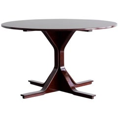 """""""Mod. 522"""" Rosewood Round Table by Gianfranco Frattini for Bernini, 1960"""