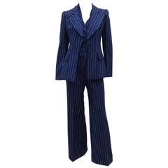Mod C.1970 Stirling Cooper Blue & White Pinstripe Three Piece Suit