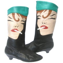 Mod Edgy Pop Art Leather Boots Designed by Zalo c 1980s