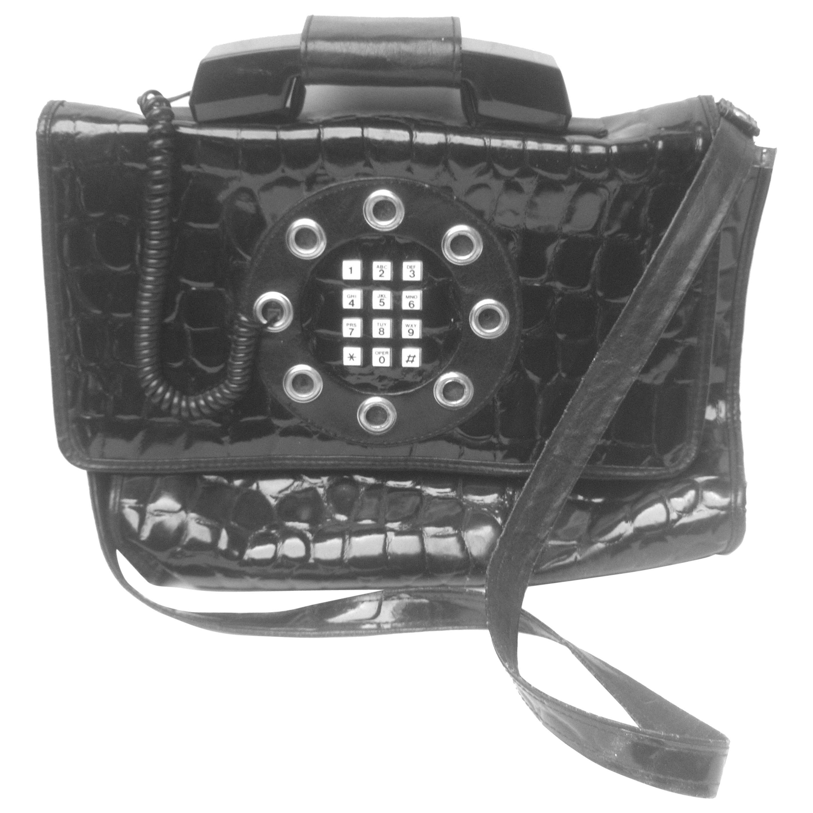 Mod Embossed Black Vinyl Telephone Shoulder Bag c 1980s