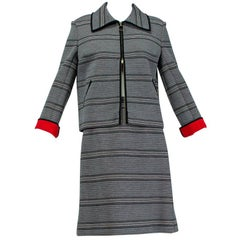 Mod Italian Black and Red Colorblock A-Line Wool Scooter Suit Ensemble- M, 1960s
