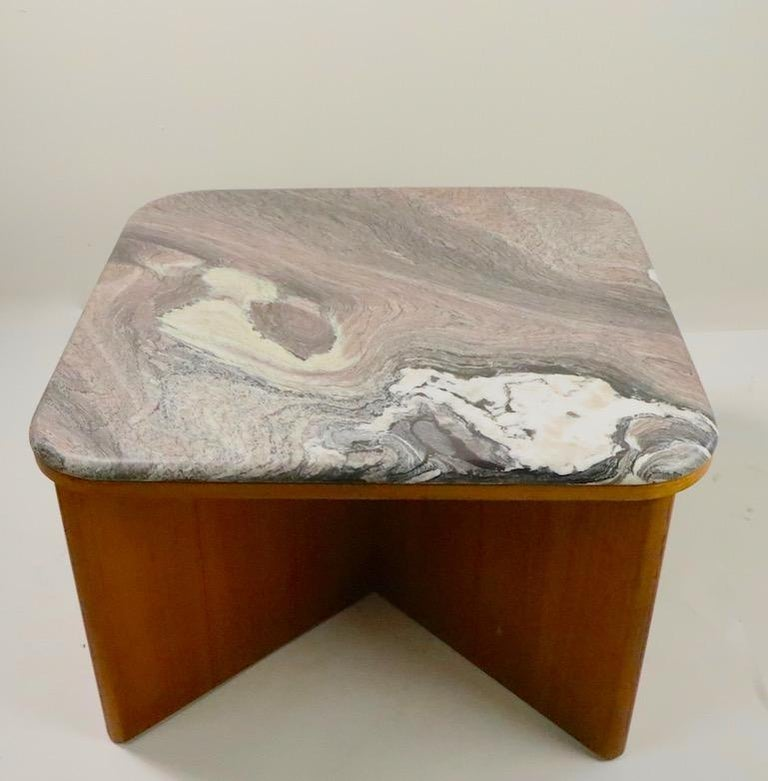 Stylish and cool midcentury marble-top table made in Sweden by Bendixen. Exceptional swirl marble top rests on architectural X-form teak base. Free of damage, repairs, or condition issues, shows only light cosmetic wear, normal and consistent with