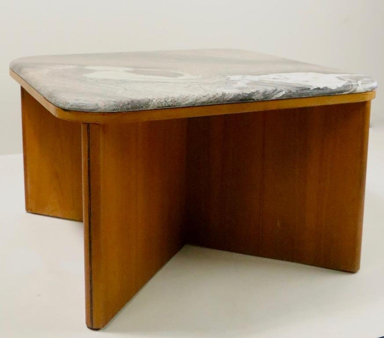 Swedish Mod Marble-Top End Table by Bendixen For Sale