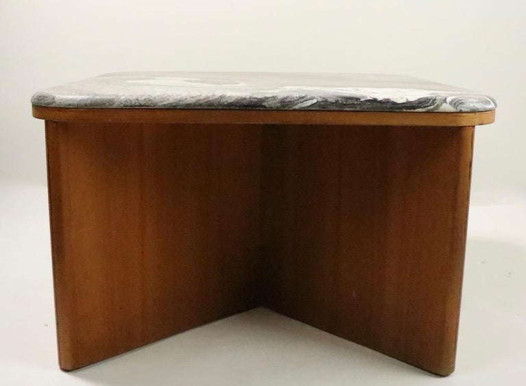 Veneer Mod Marble-Top End Table by Bendixen For Sale
