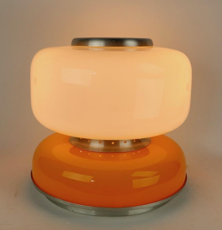 Aluminum Mod Murano Glass Table Lamp Attributed to Carlo Nason for Mazzega For Sale