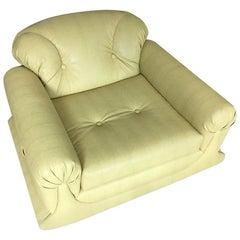 Mod Overstuffed Green Vinyl Lounge Chair